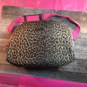 Other - Makeup case. Leopard print with hot pink strap.